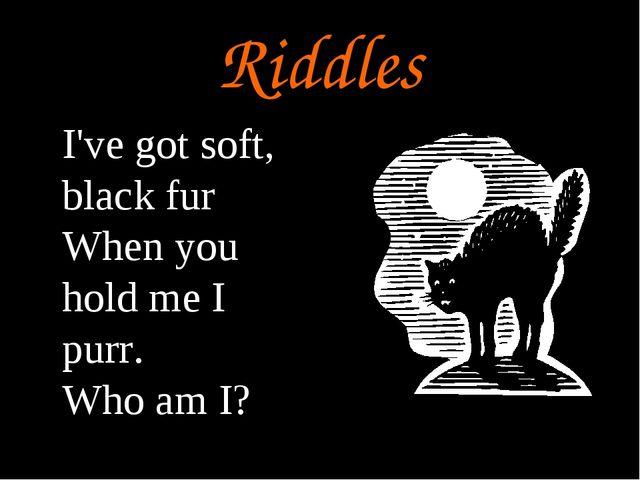 Riddles I've got soft, black fur When you hold me I purr. Who am I?
