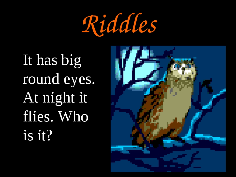 Riddles It has big round eyes. At night it flies. Who is it?