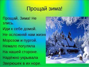 Прощай зима! Прощай, Зима! Не злись. Иди к себе домой. Не осложняй нам жизнь
