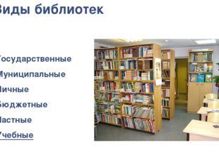 Виды библиотек Государственные Муниципальные Личные Бюджетные Частные Учебные