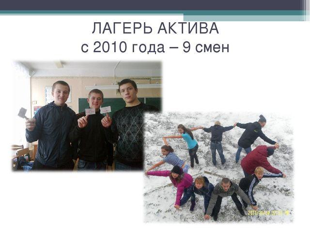 ЛАГЕРЬ АКТИВА с 2010 года – 9 смен
