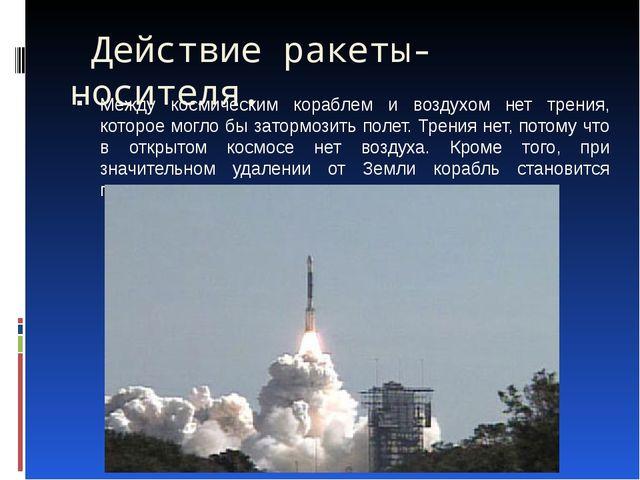 Действие ракеты-носителя.  Между космическим кораблем и воздухом нет трения,...