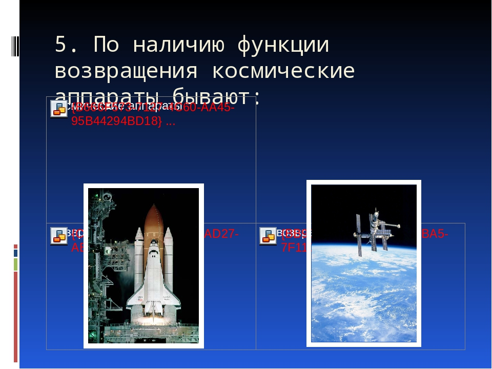 5. По наличию функции возвращения космические аппараты бывают: