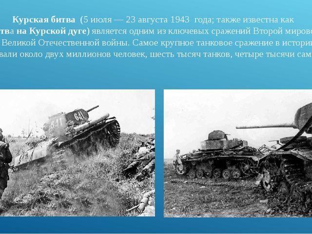 Курская битва (5 июля—23 августа1943 года; также известна как Битва на...
