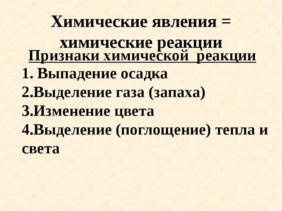 Химические явления = химические реакции Признаки химической реакции 1. Выпаде...