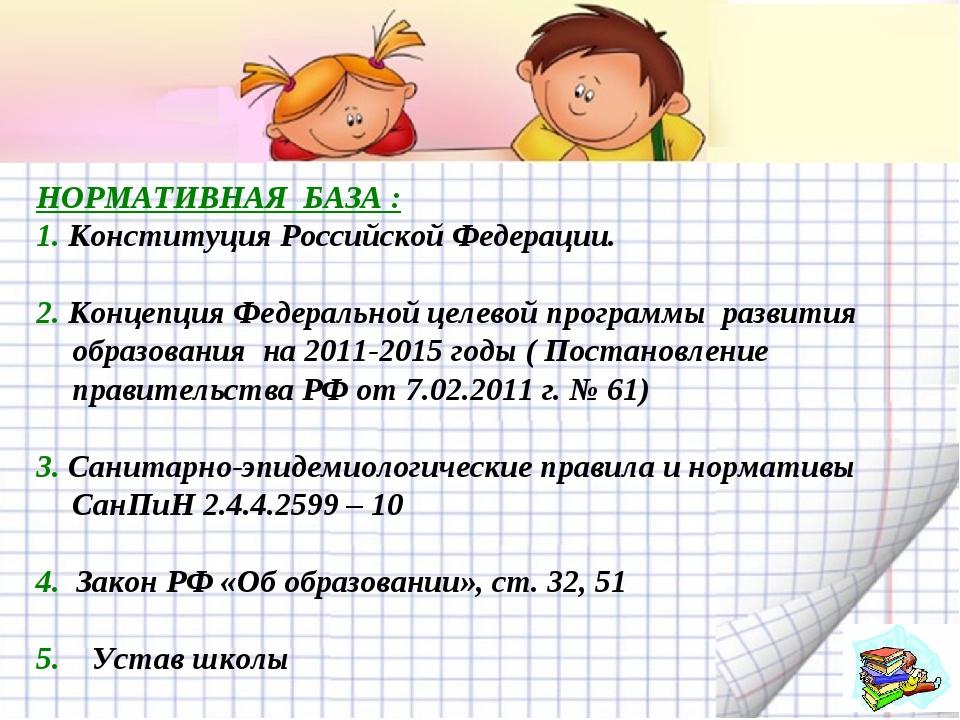 НОРМАТИВНАЯБАЗА : 1.Конституция Российской Федерации. 2.Концепция Федерал...