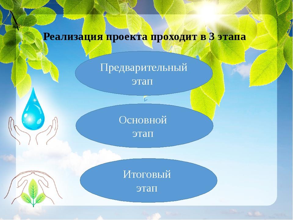 Реализация проекта проходит в 3 этапа Предварительный этап Основной этап Ито...
