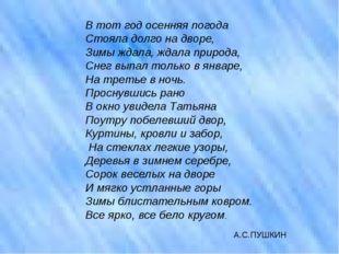 А.С.ПУШКИН В тот год осенняя погода Стояла долго на дворе, Зимы ждала, ждала
