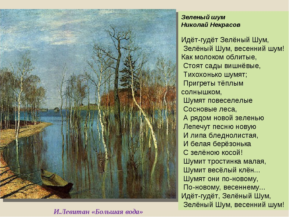 И.Левитан «Большая вода» Зеленый шум Николай Некрасов Идёт-гудёт Зелёный Шум,...