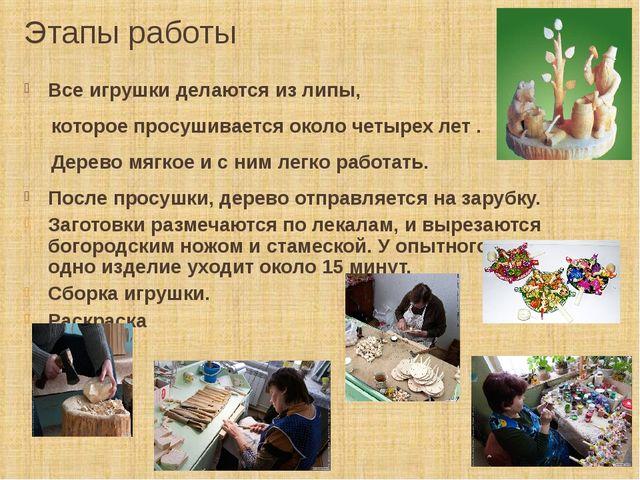 Этапы работы Все игрушки делаются из липы, которое просушивается около четыре...