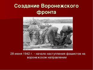 Создание Воронежского фронта 28 июня 1942 г. - начало наступления фашистов на