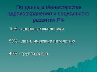 По данным Министерства здравоохранения и социального развития РФ 10% - здоров