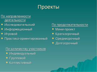 Проекты По количеству участников Индивидуальный Групповой Коллективный По нап