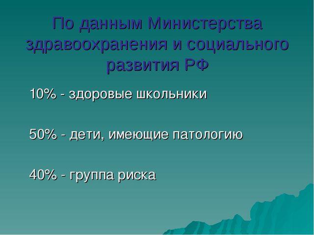 По данным Министерства здравоохранения и социального развития РФ 10% - здоров...