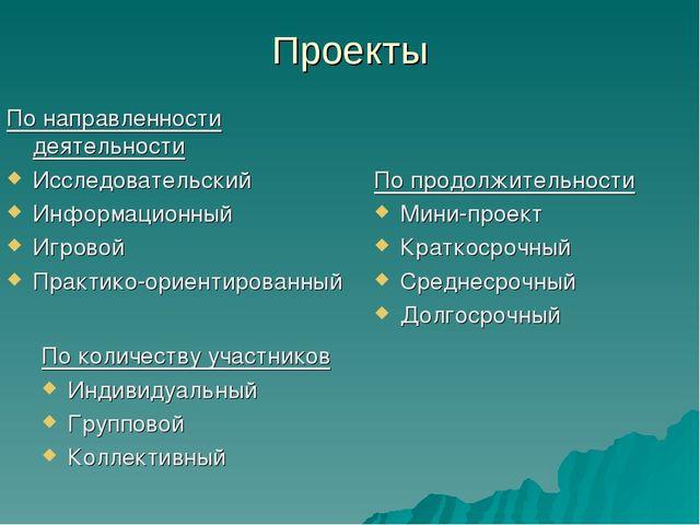 Проекты По количеству участников Индивидуальный Групповой Коллективный По нап...
