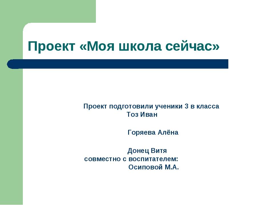 Проект «Моя школа сейчас» Проект подготовили ученики 3 в класса Тоз Иван Горя...