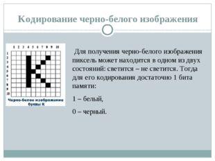 Кодирование черно-белого изображения Для получения черно-белого изображения