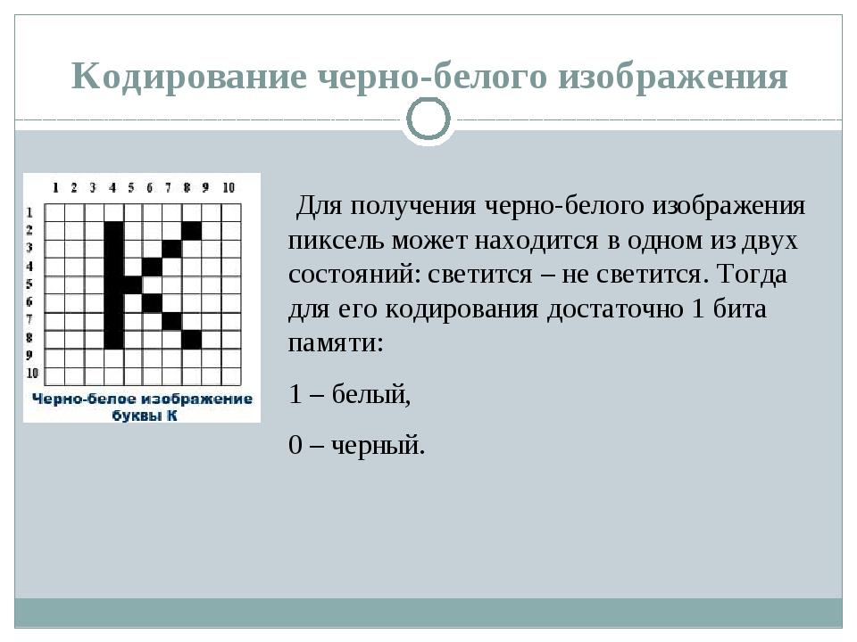 Кодирование черно-белого изображения Для получения черно-белого изображения...
