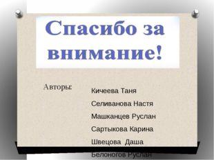 Авторы: Кичеева Таня Селиванова Настя Машканцев Руслан Сартыкова Карина Швецо