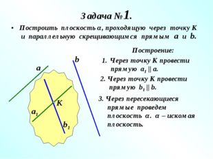Задача №1. Построить плоскость α, проходящую через точку К и параллельную скр