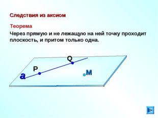 Следствия из аксиом Теорема Через прямую и не лежащую на ней точку проходит