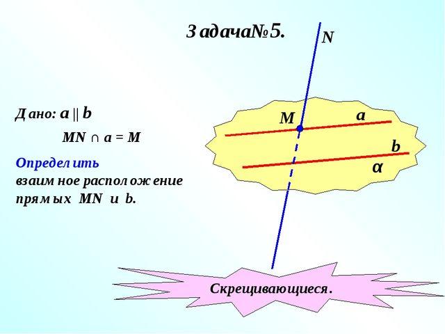 Задача№5. α a b М N Дано: a || b MN ∩ a = M Определить взаимное расположение...