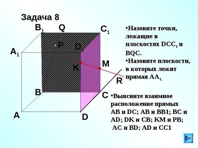 P A B C D A1 B1 C1 D1 R M K Q Задача 8 Назовите точки, лежащие в плоскостях D...