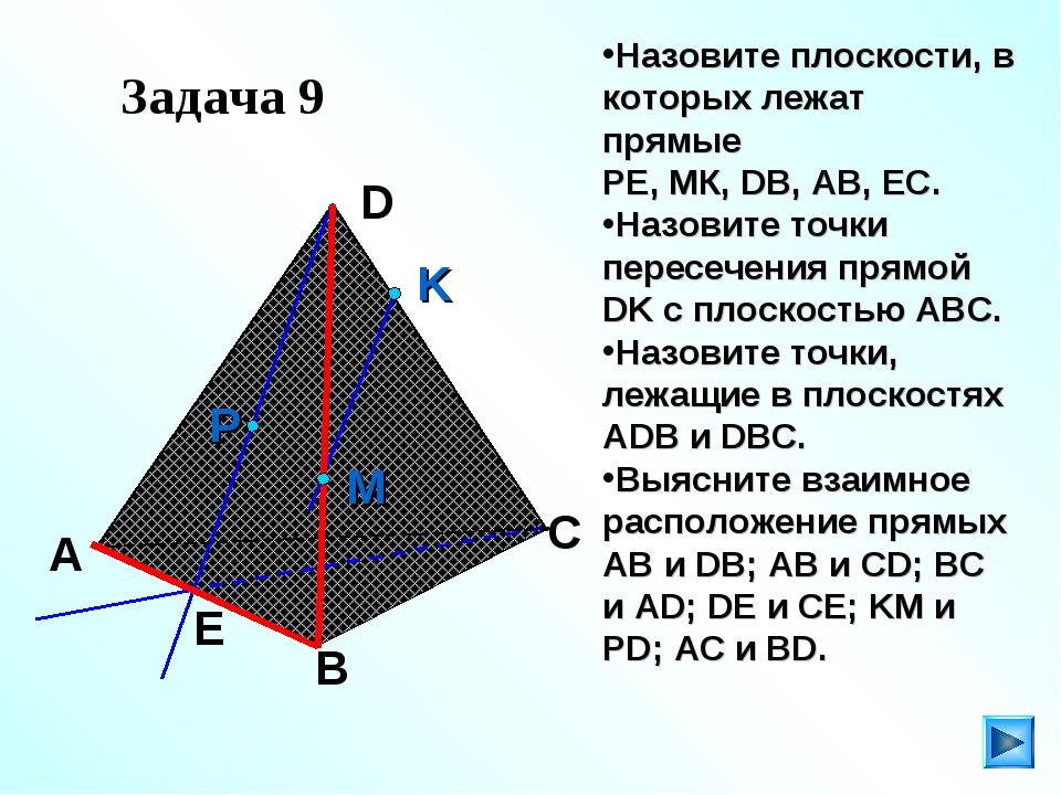 Задача 9 Назовите плоскости, в которых лежат прямые РЕ, МК, DB, AB, EC. Назо...
