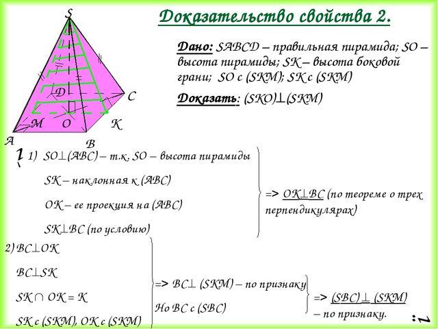 Дано: SАВСD – правильная пирамида; SО – высота пирамиды; SК – высота боковой...