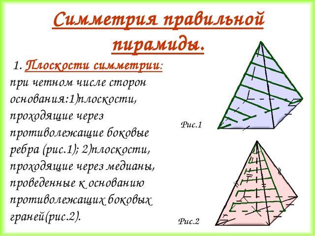 Симметрия правильной пирамиды. Плоскости симметрии: при четном числе сторон о...