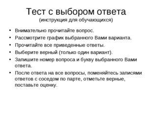 Тест с выбором ответа (инструкция для обучающихся) Внимательно прочитайте воп