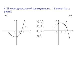4. Производная данной функции при х = 2 может быть равна: А а) 0,5 ; б) -1 ;