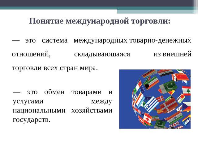 Понятие международной торговли: — это система международныхтоварно-денежных...