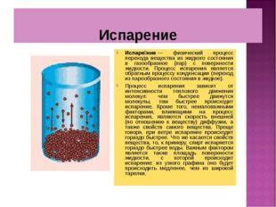 Испарение Испаре́ние— физический процесс перехода вещества из жидкого состоя