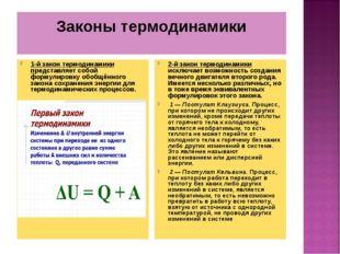 Законы термодинамики 1-й закон термодинамики представляет собой формулировку