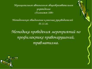 Муниципальное автономное общеобразовательное учреждение «Гимназия 108» Методи