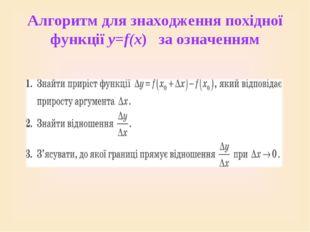 Алгоритм для знаходження похідної функції у=f(x) за означенням