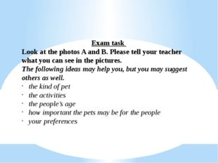 Exam task Look at the photos A and B. Please tell your teacher what you can s