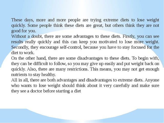 These days, more and more people are trying extreme diets to lose weight qui...