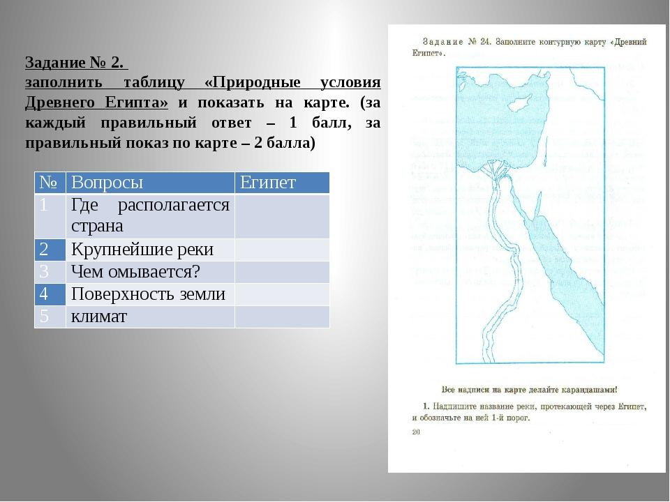 Задание № 2. заполнить таблицу «Природные условия Древнего Египта» и показать...