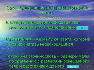 Закон прямолинейного распространения света: Евклид (греч.), III в.до н. э. В