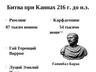 Битва при Каннах 216 г. до н.э. Римляне 87 тысяч воинов Гай Теренций Варрон Л