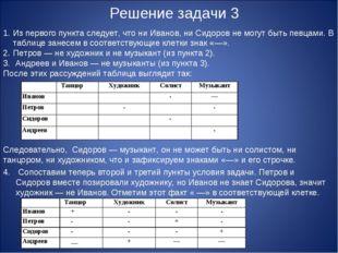 Решение задачи 3 1.Из первого пункта следует, что ни Иванов, ни Сидоров не м