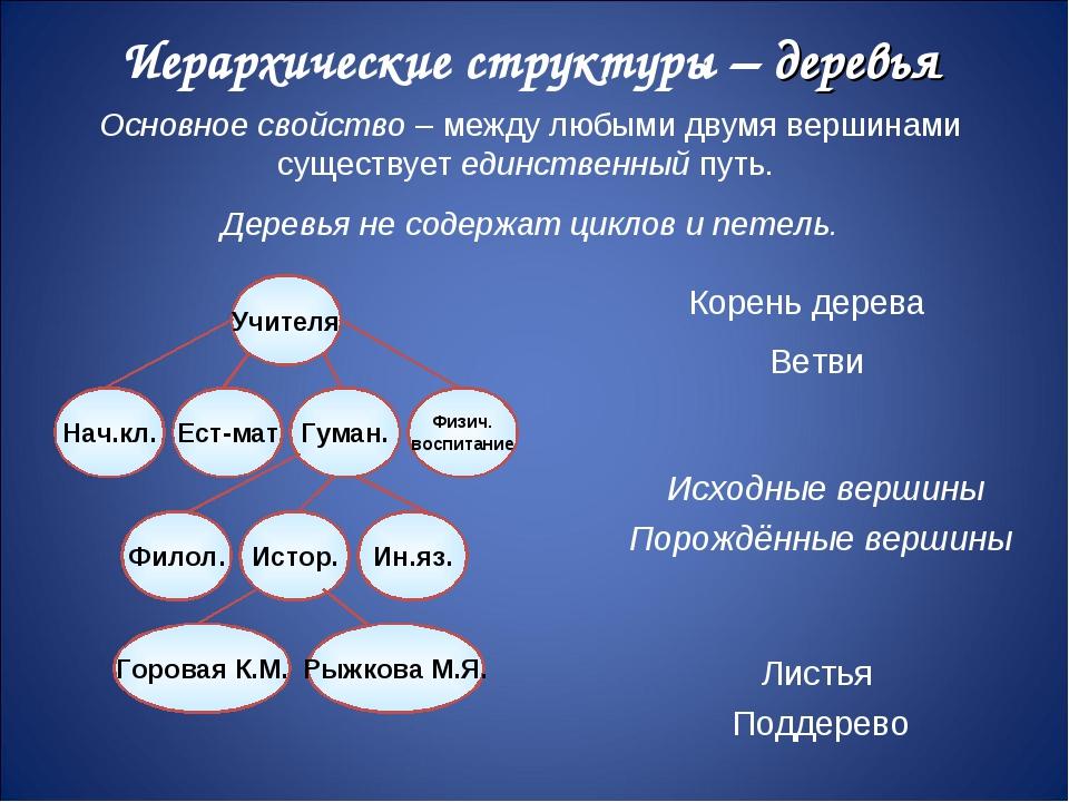 Иерархические структуры – деревья Основное свойство – между любыми двумя верш...
