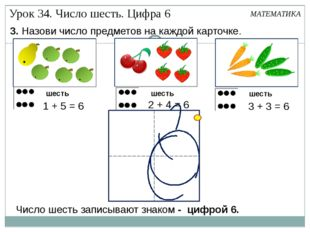 3. Назови число предметов на каждой карточке. шесть шесть шесть МАТЕМАТИКА Чи