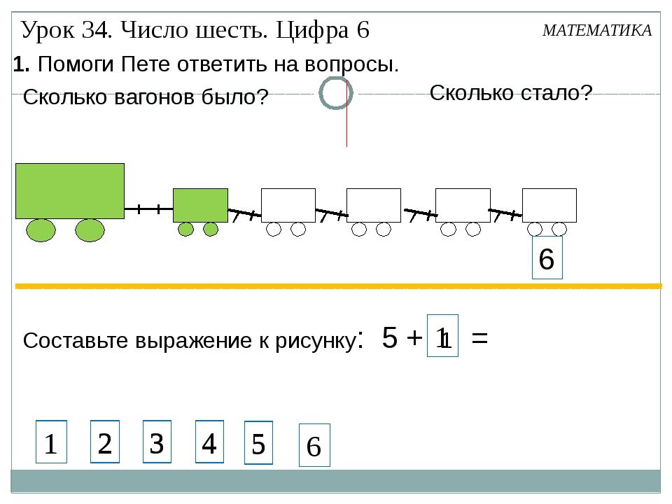 1. Помоги Пете ответить на вопросы. Составьте выражение к рисунку: 5 + 1 = М...