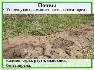 Почвы Упомянутая промышленность наносит вред не только воздуху, но и земельны