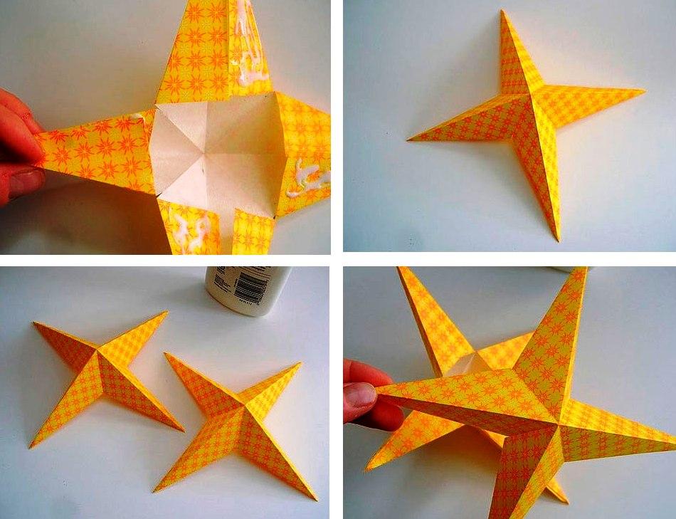Новогодние звезды своими руками из бумаги