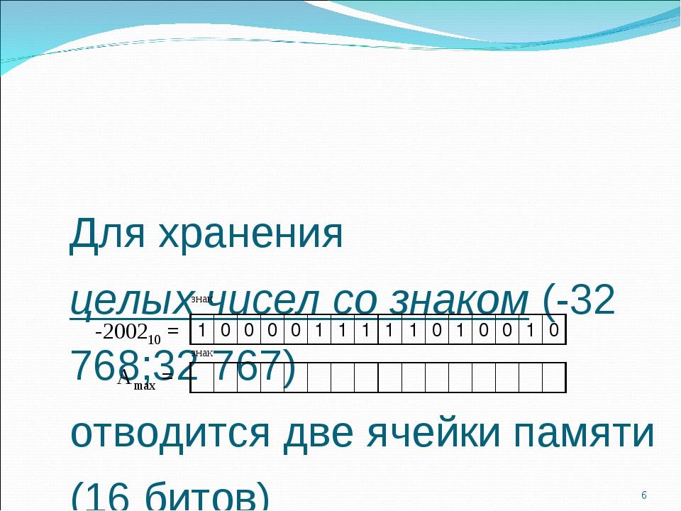 Для хранения целых чисел со знаком (-32 768;32 767) отводится две ячейки памя...