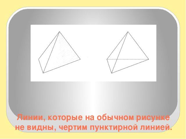 Линии, которые на обычном рисунке не видны, чертим пунктирной линией. Для из...